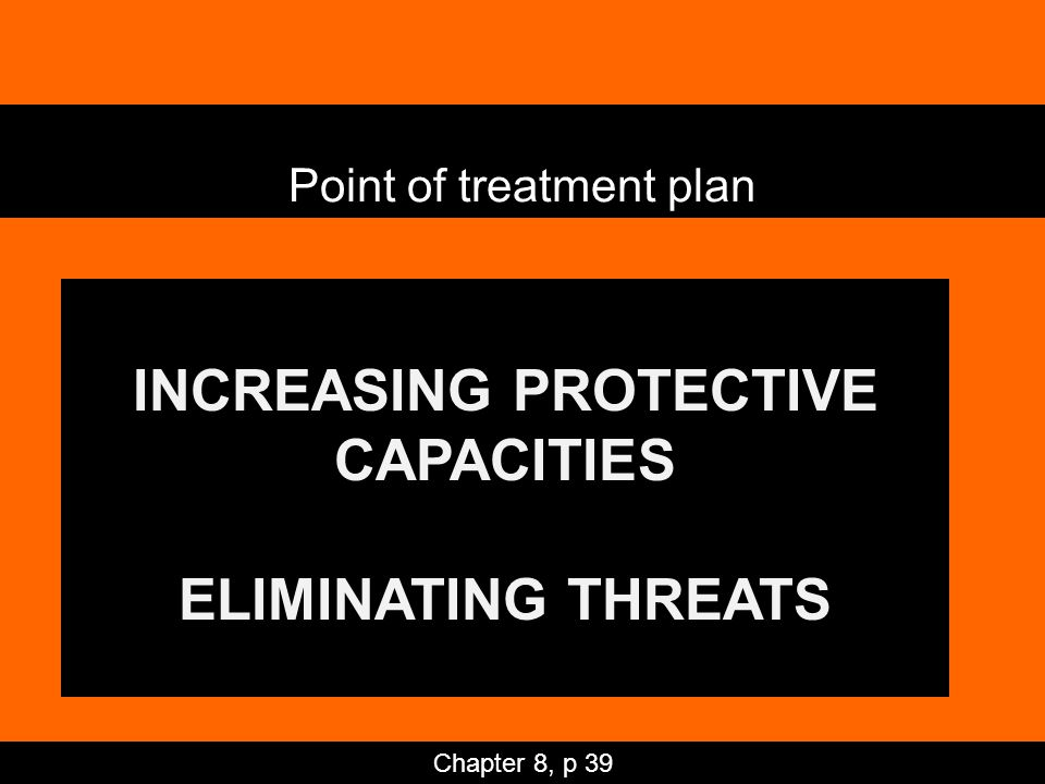 INCREASING PROTECTIVE CAPACITIES ELIMINATING THREATS Point of treatment plan Chapter 8, p 39