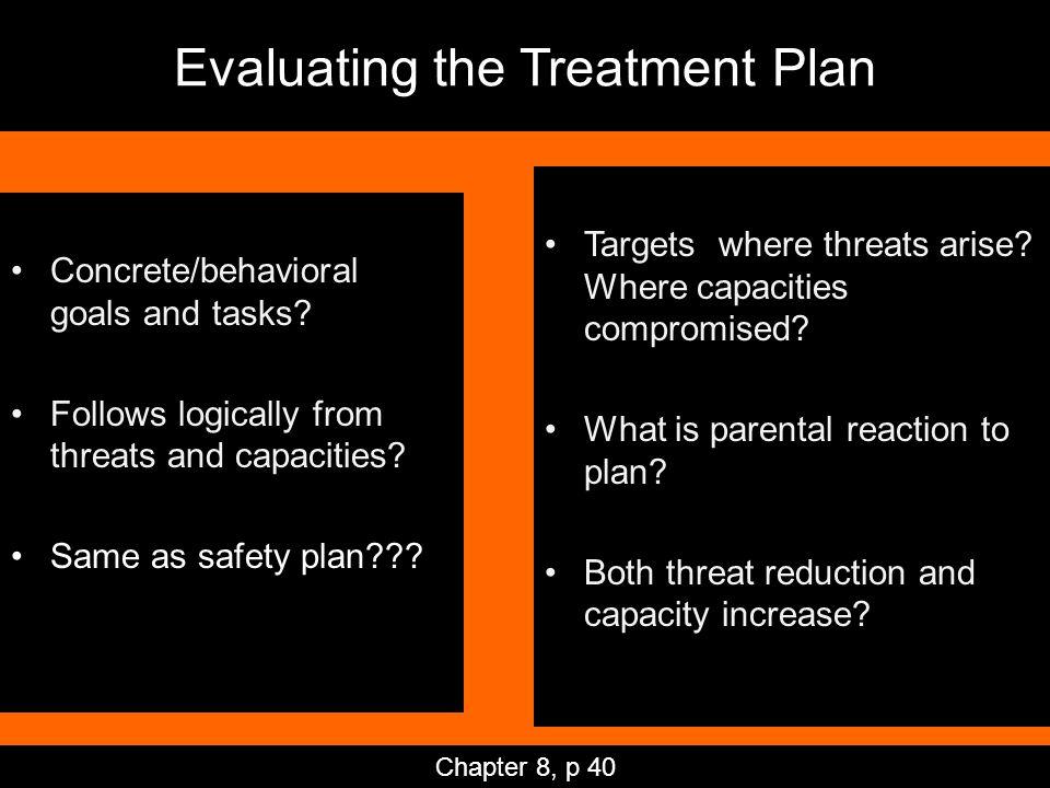 Evaluating the Treatment Plan Concrete/behavioral goals and tasks.