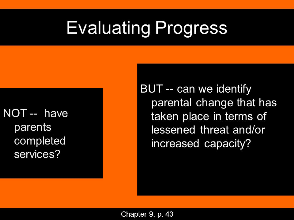 Evaluating Progress NOT -- have parents completed services.