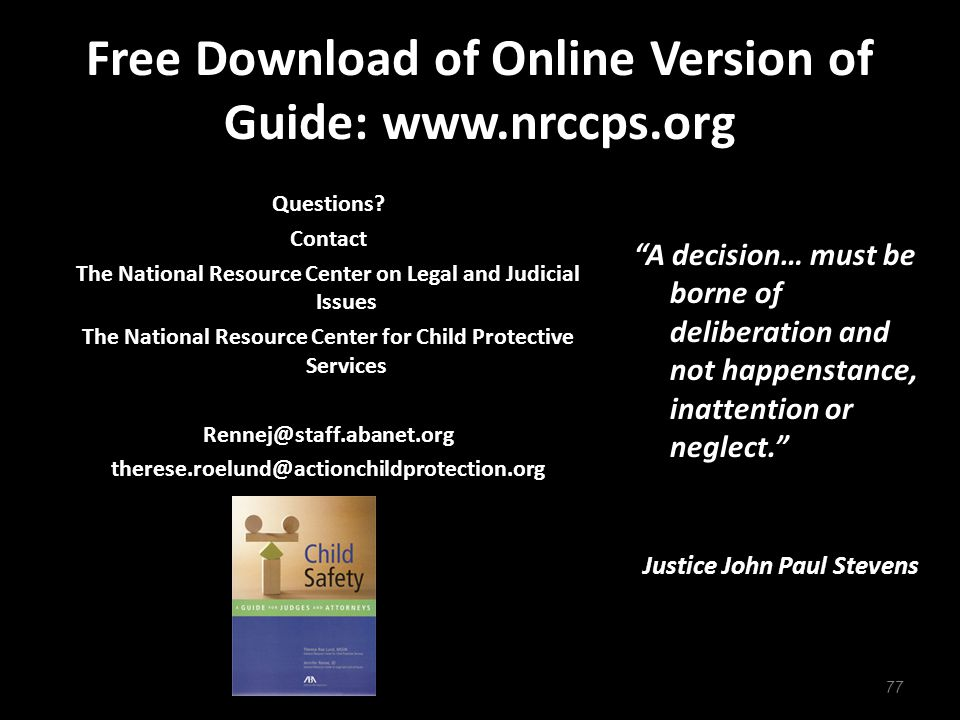 Free Download of Online Version of Guide: www.nrccps.org Questions.