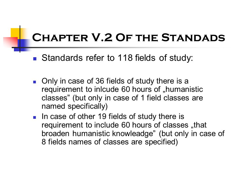 """Chapter V.2 Of the Standads Standards refer to 118 fields of study: Only in case of 36 fields of study there is a requirement to inlcude 60 hours of """""""