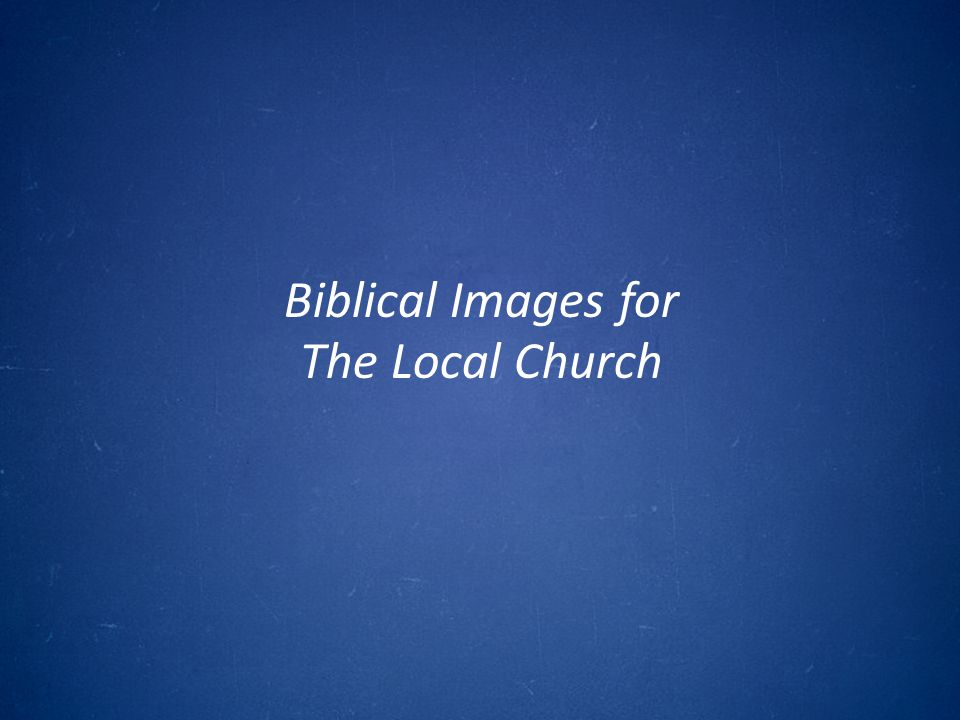 DISCUSSION QUESTION What are some images that come to mind when you think about the local church?
