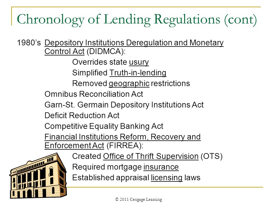 © 2011 Cengage Learning Chronology of Lending Regulations (cont) 1980'sDepository Institutions Deregulation and Monetary Control Act (DIDMCA): Overrides state usury Simplified Truth-in-lending Removed geographic restrictions Omnibus Reconciliation Act Garn-St.
