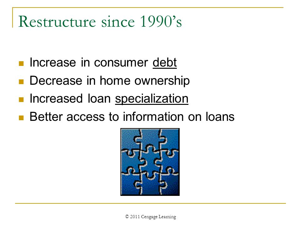 © 2011 Cengage Learning Restructure since 1990's Increase in consumer debt Decrease in home ownership Increased loan specialization Better access to i