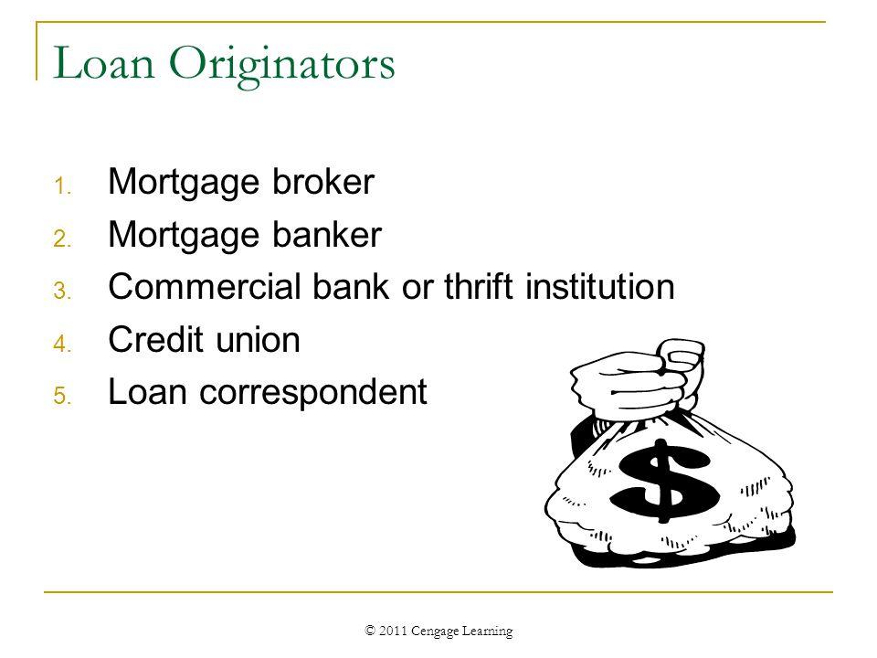 © 2011 Cengage Learning Loan Originators 1. Mortgage broker 2.