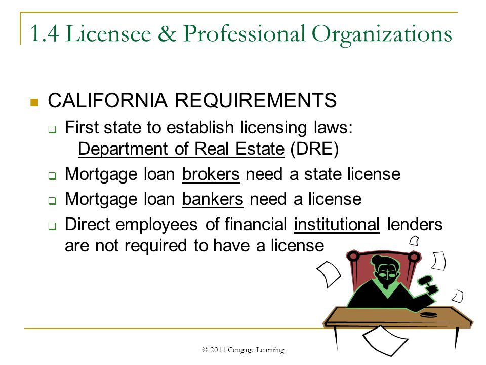 © 2011 Cengage Learning 1.4 Licensee & Professional Organizations CALIFORNIA REQUIREMENTS  First state to establish licensing laws: Department of Rea