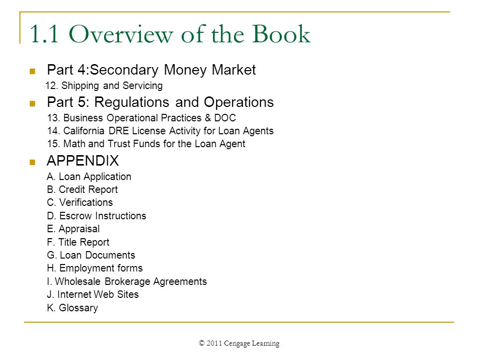 © 2011 Cengage Learning 1.1 Overview of the Book Part 4:Secondary Money Market 12. Shipping and Servicing Part 5: Regulations and Operations 13. Busin