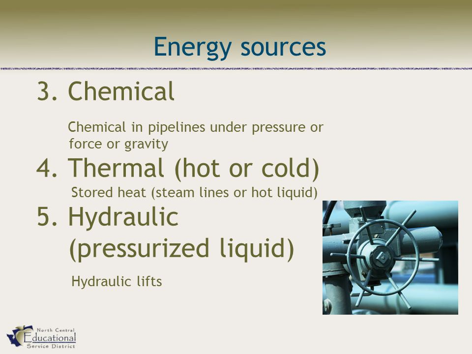 3. Chemical Chemical in pipelines under pressure or force or gravity 4.
