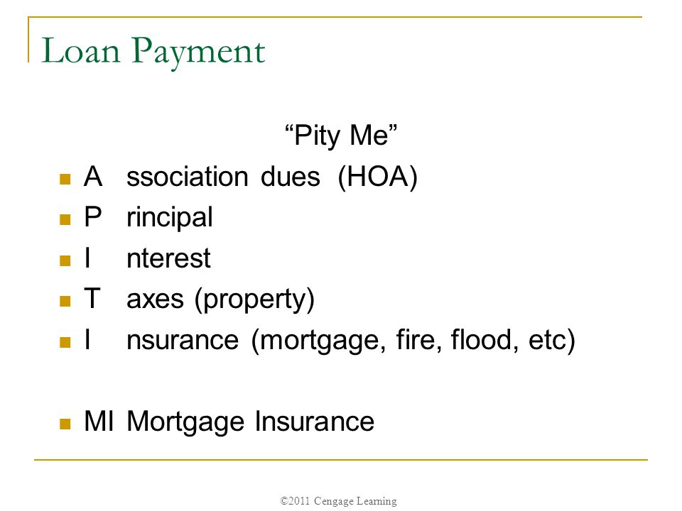 ©2011 Cengage Learning Loan Payment Pity Me Association dues (HOA) Principal Interest Taxes (property) Insurance (mortgage, fire, flood, etc) MIMortgage Insurance