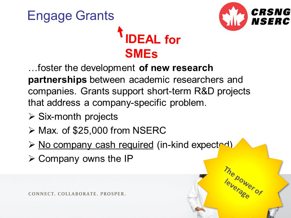 19 Engage Grants …foster the development of new research partnerships between academic researchers and companies.