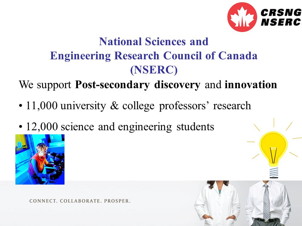 2 National Sciences and Engineering Research Council of Canada (NSERC) We support Post-secondary discovery and innovation 11,000 university & college professors' research 12,000 science and engineering students