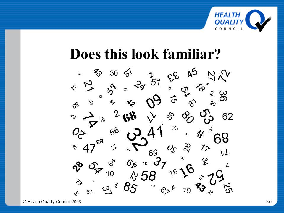 © Health Quality Council 2008 26 Does this look familiar?