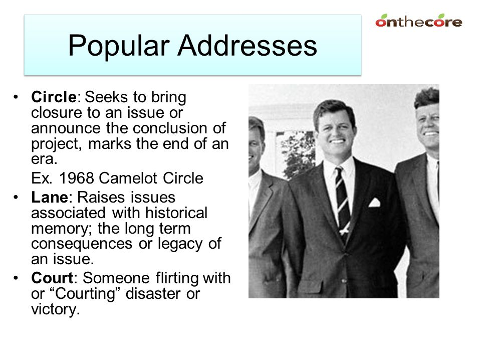 Address Chart Address and Description Way: Proposes a solution to a problem Circle: Seeks to bring closure to an issue or announce the conclusion of project, marks the end of an era.