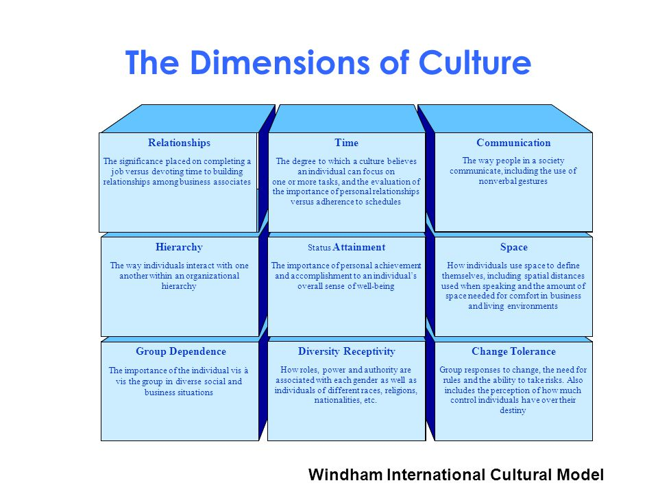 The Dimensions of Culture The importance of the individual vis à vis the group in diverse social and business situations Group responses to change, the need for rules and the ability to take risks.