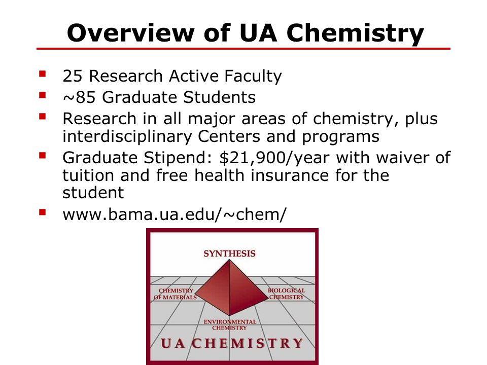 Overview of UA Chemistry  25 Research Active Faculty  ~85 Graduate Students  Research in all major areas of chemistry, plus interdisciplinary Cente