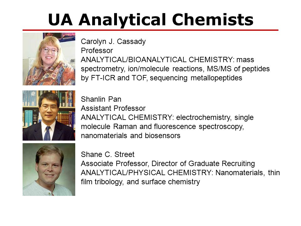 UA Analytical Chemists Carolyn J. Cassady Professor ANALYTICAL/BIOANALYTICAL CHEMISTRY: mass spectrometry, ion/molecule reactions, MS/MS of peptides b