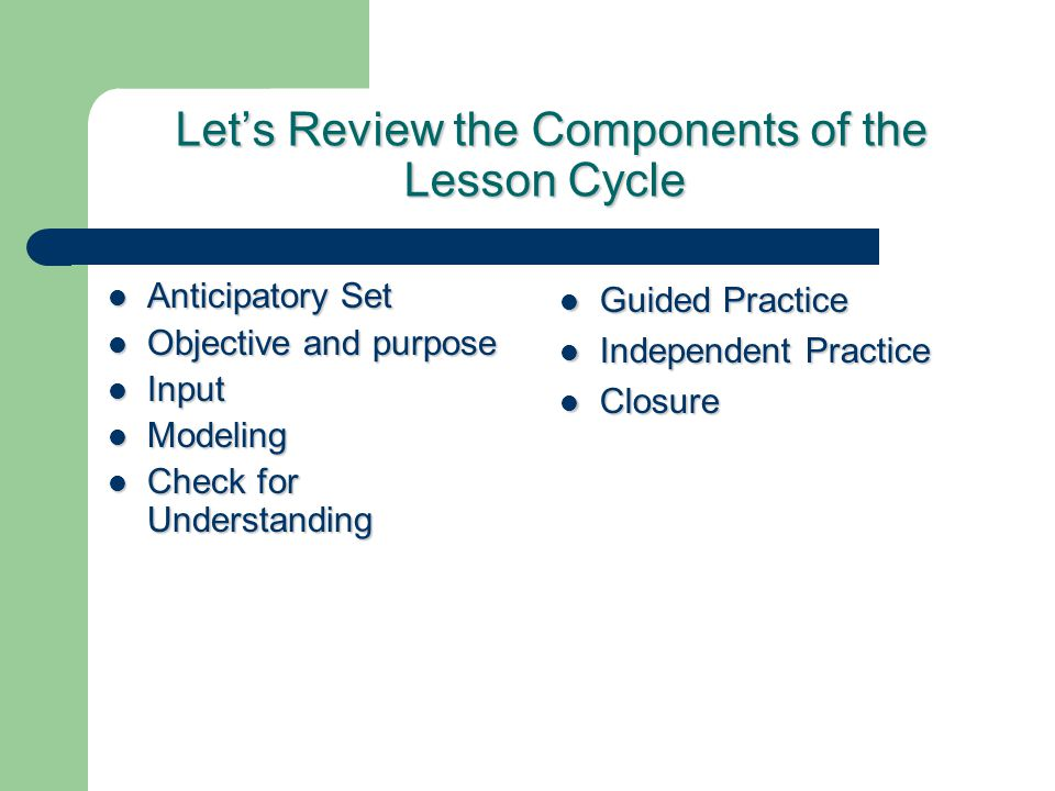 Let's Review the Components of the Lesson Cycle Let's Review the Components of the Lesson Cycle Anticipatory Set Anticipatory Set Objective and purpose Objective and purpose Input Input Modeling Modeling Check for Understanding Check for Understanding Guided Practice Guided Practice Independent Practice Independent Practice Closure Closure