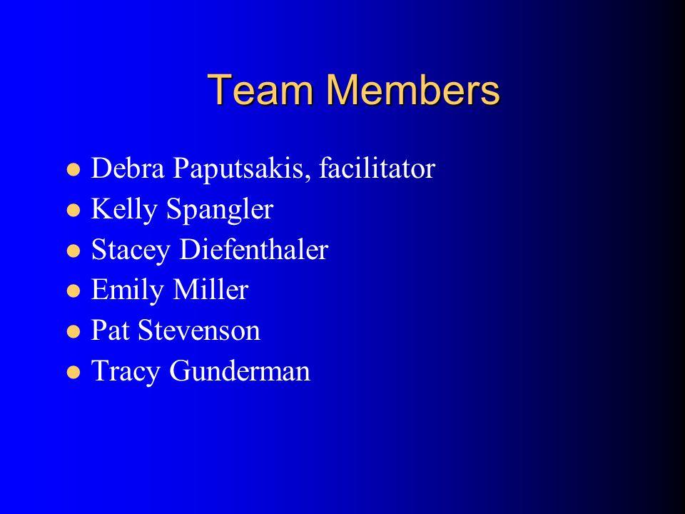 Team Members Debra Paputsakis, facilitator Kelly Spangler Stacey Diefenthaler Emily Miller Pat Stevenson Tracy Gunderman