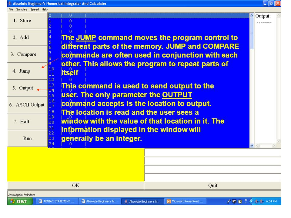 The JUMP command moves the program control to different parts of the memory.