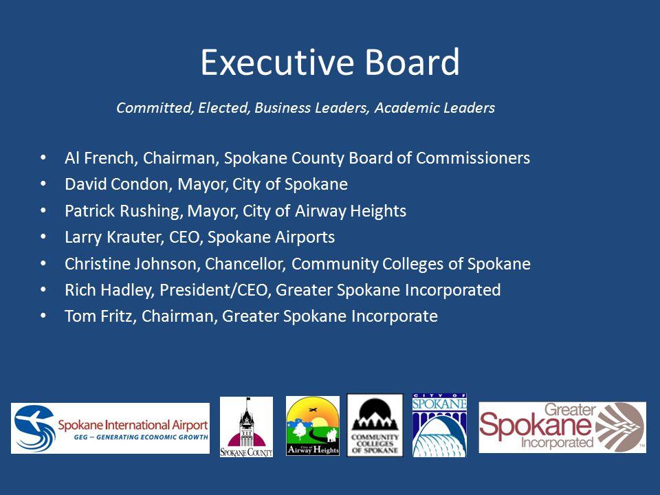 Executive Board Al French, Chairman, Spokane County Board of Commissioners David Condon, Mayor, City of Spokane Patrick Rushing, Mayor, City of Airway