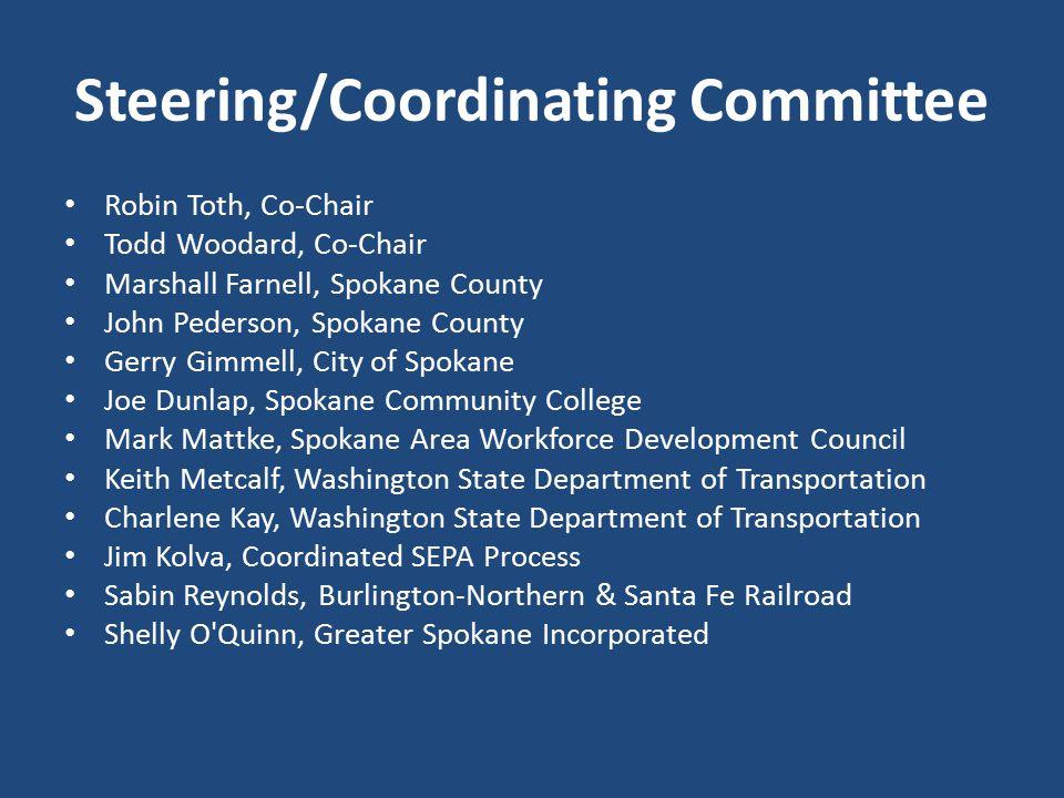 Steering/Coordinating Committee Robin Toth, Co-Chair Todd Woodard, Co-Chair Marshall Farnell, Spokane County John Pederson, Spokane County Gerry Gimme