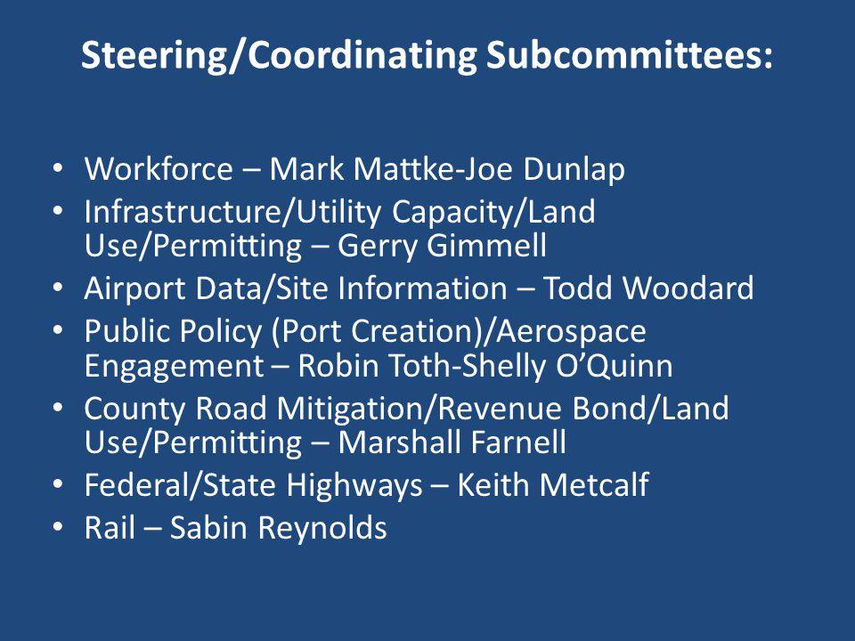 Steering/Coordinating Subcommittees: Workforce – Mark Mattke-Joe Dunlap Infrastructure/Utility Capacity/Land Use/Permitting – Gerry Gimmell Airport Da