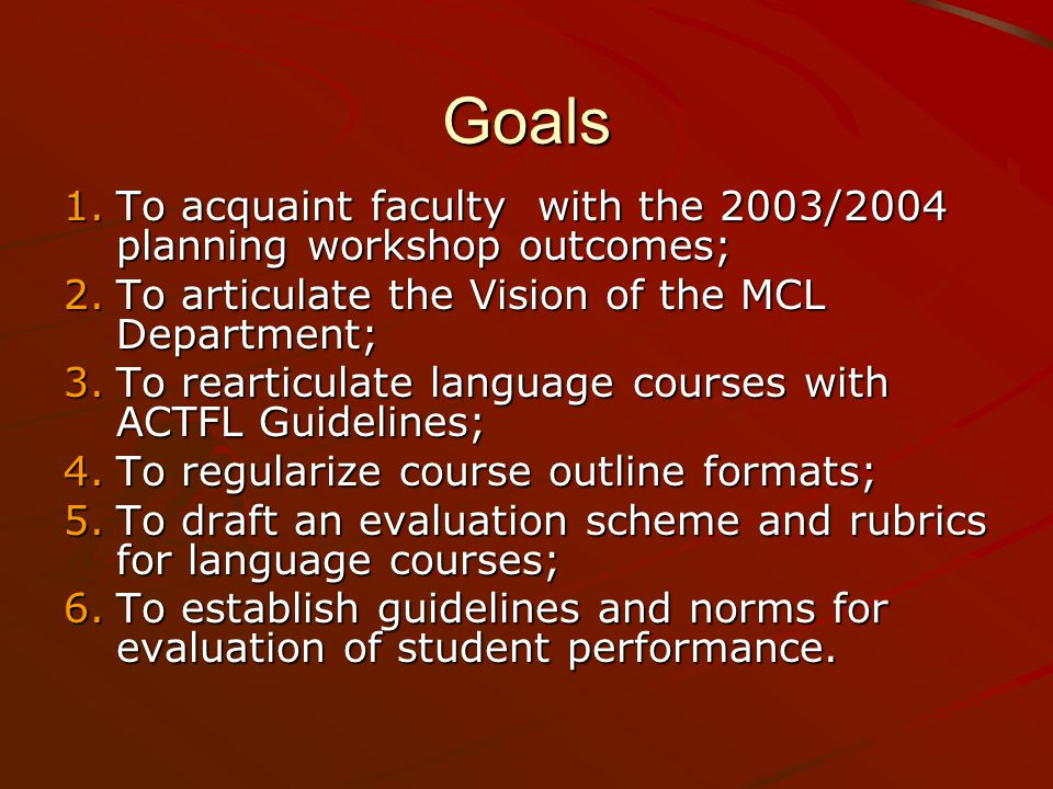 Activities 1.Review of the 2003/2004 planning workshop outcomes.