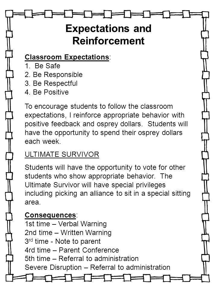 Expectations and Reinforcement Classroom Expectations: 1. Be Safe 2. Be Responsible 3. Be Respectful 4. Be Positive To encourage students to follow th