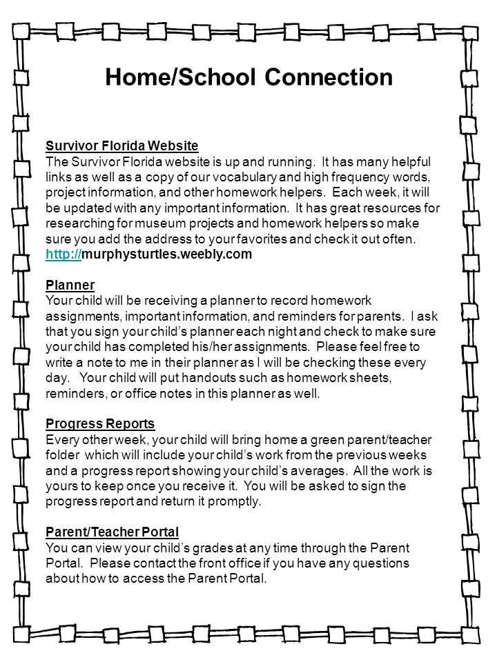 Home/School Connection Survivor Florida Website The Survivor Florida website is up and running. It has many helpful links as well as a copy of our voc