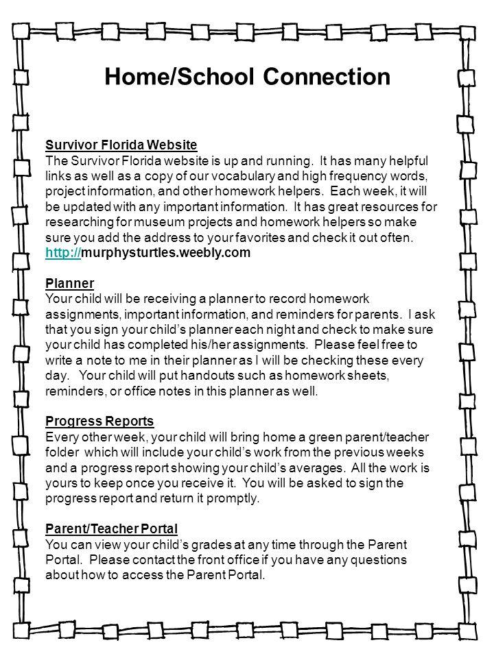 Home/School Connection Survivor Florida Website The Survivor Florida website is up and running.