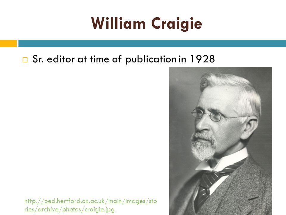 William Craigie  Sr.