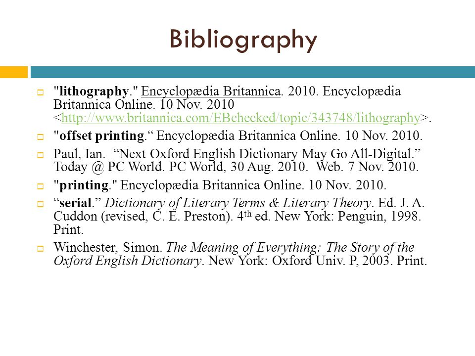 Bibliography  lithography. Encyclopædia Britannica.