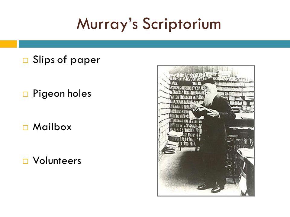 Murray's Scriptorium  Slips of paper  Pigeon holes  Mailbox  Volunteers