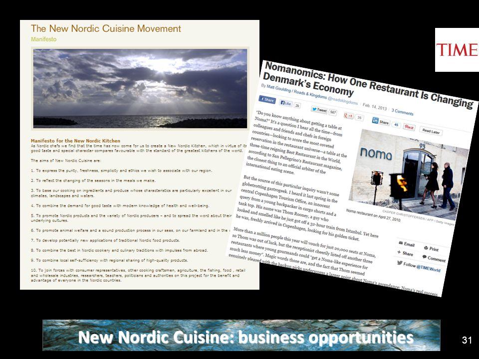 31 New Nordic Cuisine: business opportunities
