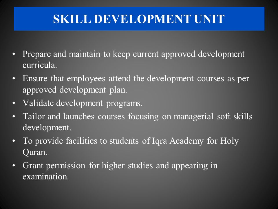 Prepare and maintain to keep current approved development curricula.