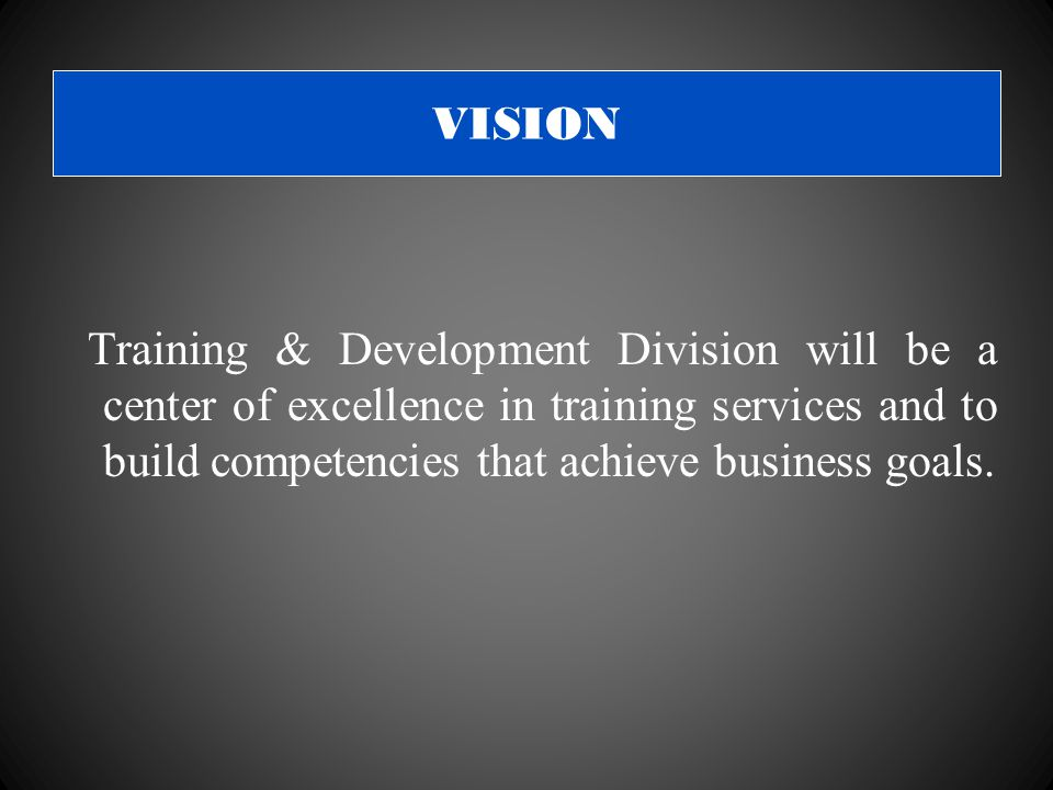 VISION Training & Development Division will be a center of excellence in training services and to build competencies that achieve business goals.