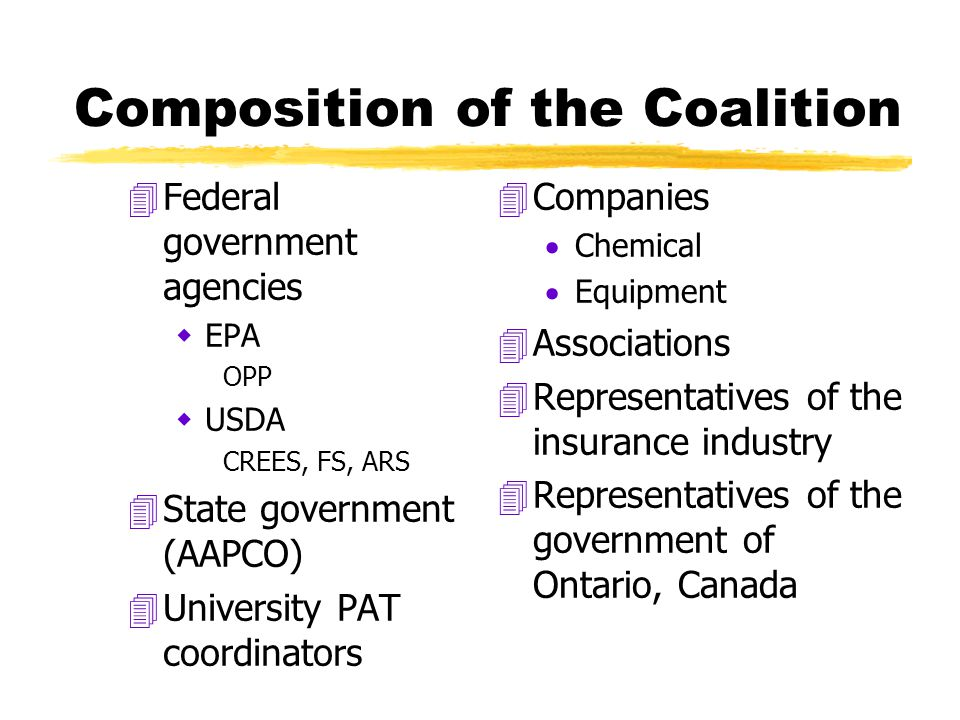 Composition of the Coalition 4Federal government agencies  EPA OPP  USDA CREES, FS, ARS 4State government (AAPCO) 4University PAT coordinators 4 Companies  Chemical  Equipment 4 Associations 4 Representatives of the insurance industry 4 Representatives of the government of Ontario, Canada