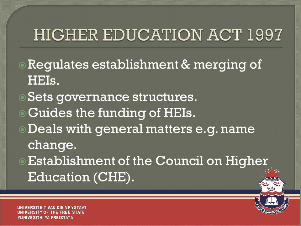  Regulates establishment & merging of HEIs.  Sets governance structures.