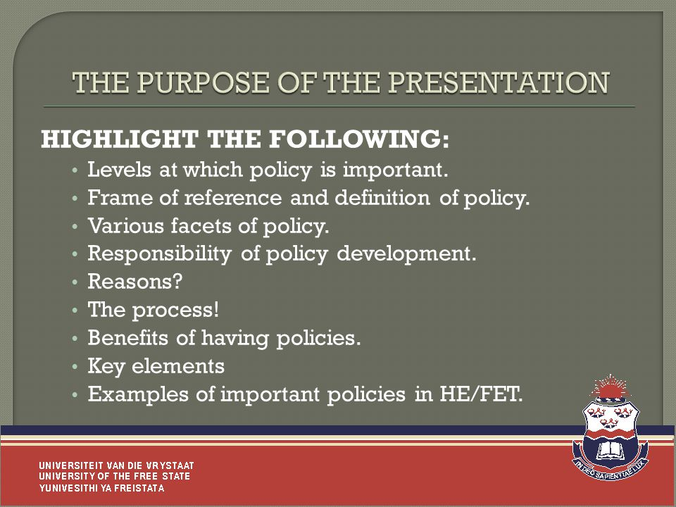 HIGHLIGHT THE FOLLOWING: Levels at which policy is important.