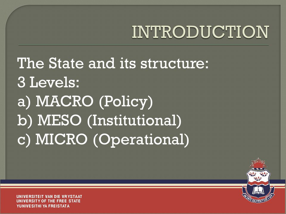 The State and its structure: 3 Levels: a) MACRO (Policy) b) MESO (Institutional) c) MICRO (Operational) 5