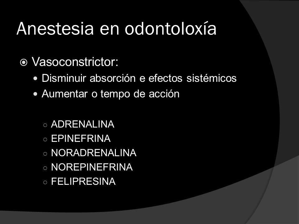 Anestesia en odontoloxía  Vasoconstrictor: Disminuir absorción e efectos sistémicos Aumentar o tempo de acción ○ ADRENALINA ○ EPINEFRINA ○ NORADRENAL