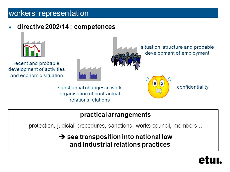 workers representation ● directive 2002/14 : competences recent and probable development of activities and economic situation situation, structure and probable development of employment substiantial changes in work organisation of contractual relations relations confidentiality practical arrangements protection, judicial procedures, sanctions, works council, members...