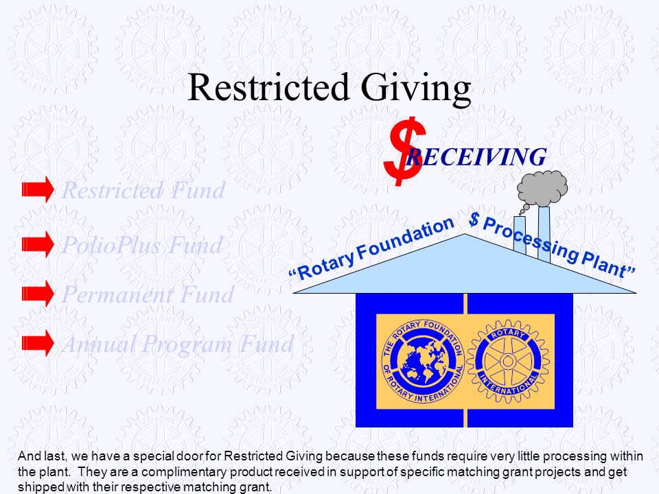 """Restricted Giving """"Rotary Foundation $ Processing Plant"""" $ RECEIVING Annual Program Fund Permanent Fund PolioPlus Fund Restricted Fund And last, we ha"""
