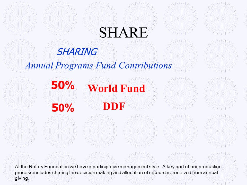 SHARE SHARING 50% Annual Programs Fund Contributions At the Rotary Foundation we have a participative management style. A key part of our production p