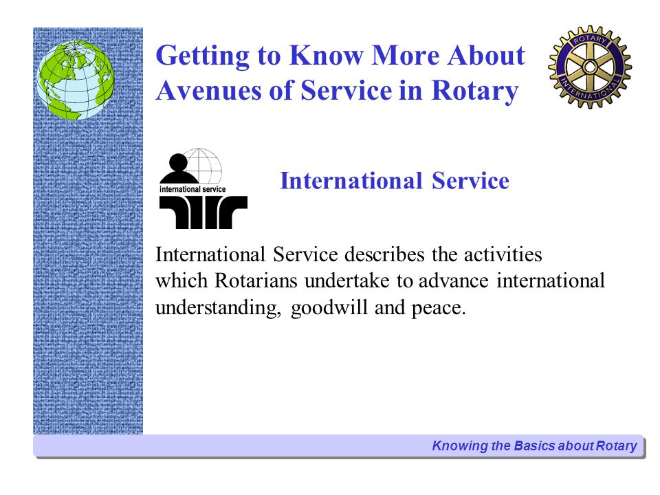 Vocational Service Month October is the Vocational Service Month in the Rotary World and is an ideal time to initiate a new project.