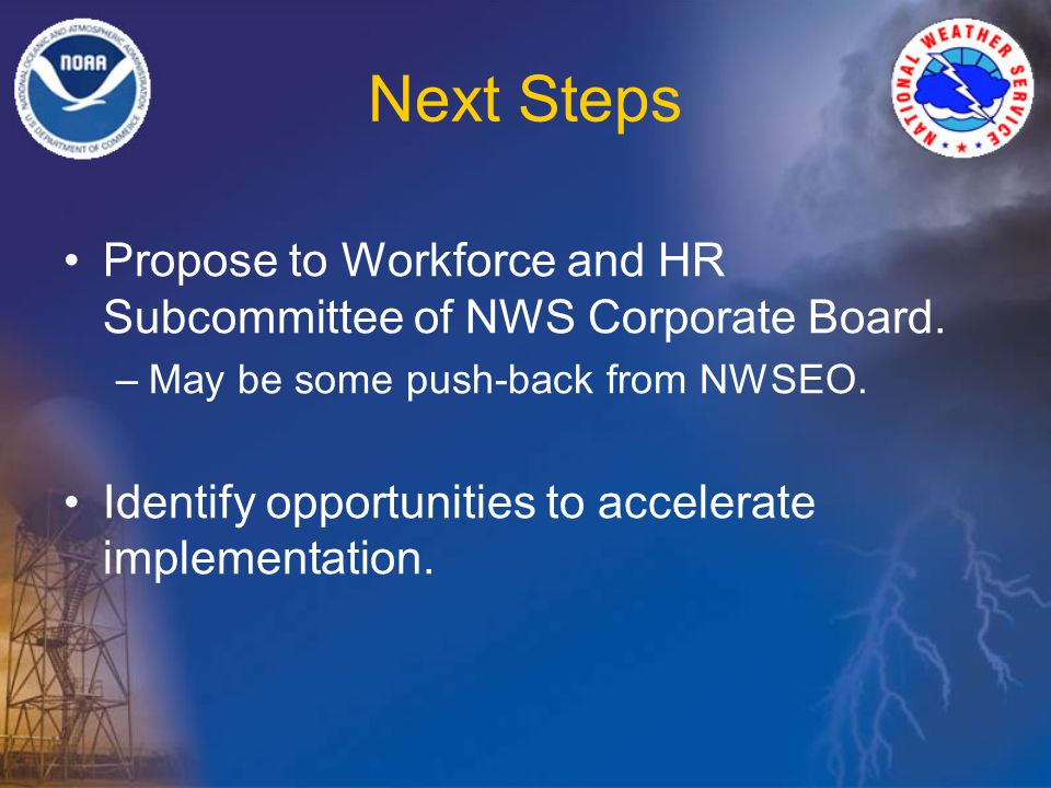 Next Steps Propose to Workforce and HR Subcommittee of NWS Corporate Board.
