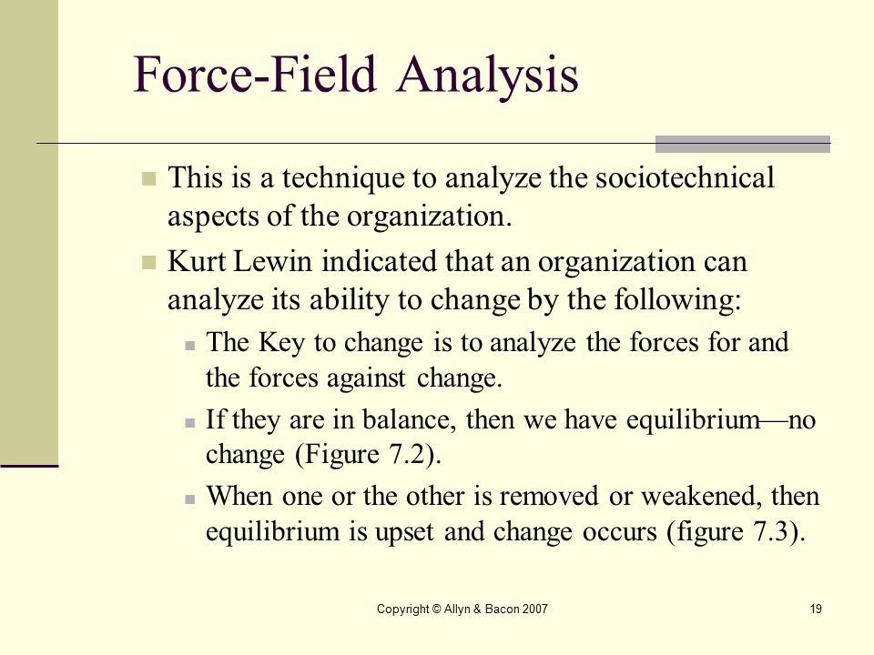 Copyright © Allyn & Bacon 200719 Force-Field Analysis This is a technique to analyze the sociotechnical aspects of the organization. Kurt Lewin indica