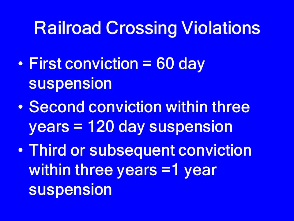 Railroad Crossing Violations Failure to stop for railroad signal - ORS Failure to follow procedures for high risk vehicles - ORS