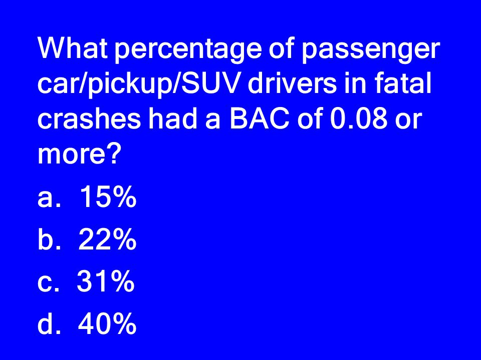 What percentage of passenger car/pickup/SUV drivers in fatal crashes had a BAC of 0.08 or more.