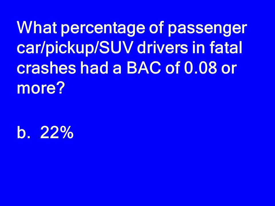 What percentage of passenger car/pickup/SUV drivers in fatal crashes had a BAC of 0.08 or more? a. 15% b. 22% c. 31% d. 40%